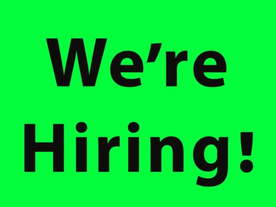 We're Hiring, with neon green background and black text